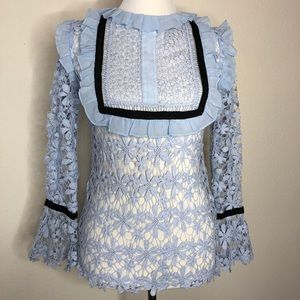 Endless Rose  Blue Lace bell  Long Sleeve blouse